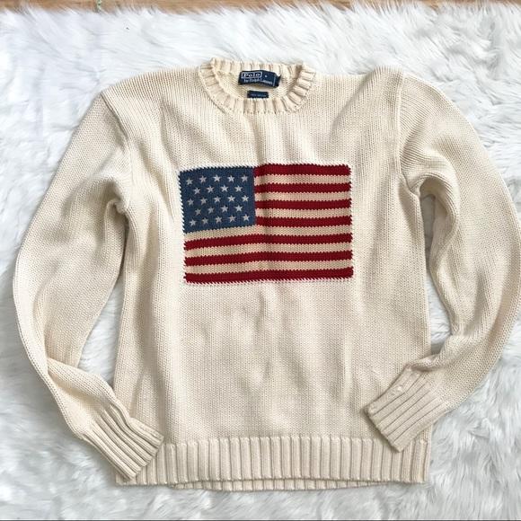 ralph lauren jumper cream flag shirt mens